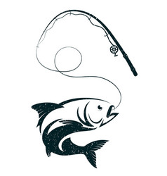 fish on the hook and fishing rod vector image vector image