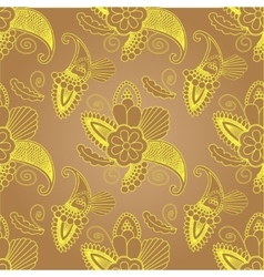 golden seamless pattern with paisley on background vector image