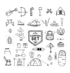 hand drawn camping set vector image