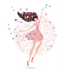 Happy teenage girl with flowers on her head with vector image vector image