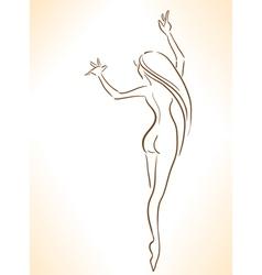 Silhouette of nude dancing slender girl vector image vector image