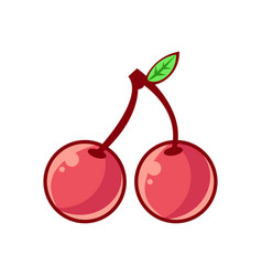 two cherries with leaf food item outlined vector image vector image