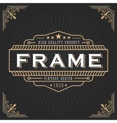 Vintage line frame design for label vector image