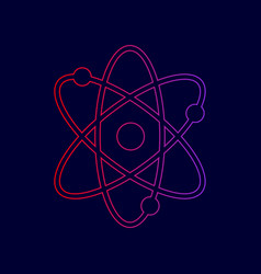 atom sign line icon with vector image