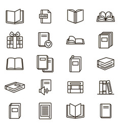 book signs black thin line icon set vector image