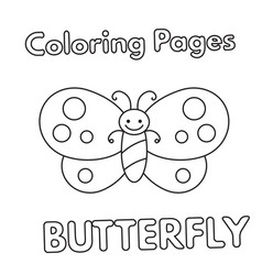 cartoon butterfly coloring book vector image vector image