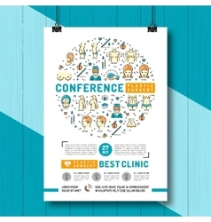 Medical poster of the conference and exhibition of vector image vector image