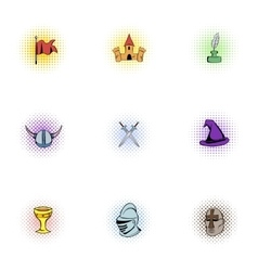 Medieval armor icons set pop-art style vector image vector image