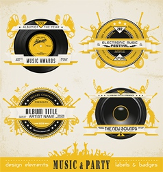 Music badge labels vector