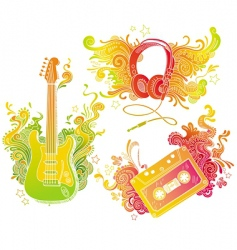 musical equipments with doodle decor vector image vector image