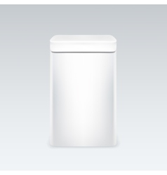 White tin box packaging container for tea or vector image