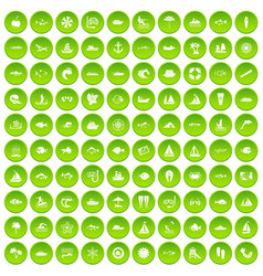 100 sea icons set green circle vector