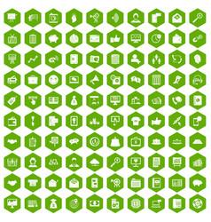 100 viral marketing icons hexagon green vector