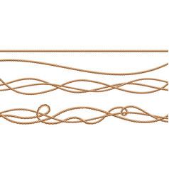 3d realistic jute hemp fiber ropes vector image