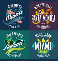 advertising or t-shirt prints for usa surfers vector image