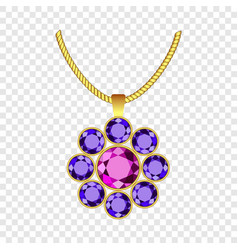 Amethyst flower jewelry icon realistic style vector