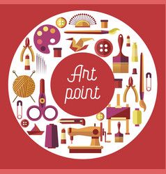 Art point hobby and craft painting sewing and vector