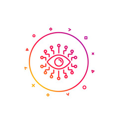 Artificial intelligence line icon all-seeing eye vector