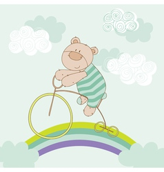 Baby Bear Riding Bike - Baby Shower Card vector image