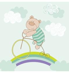 Baby bear riding bike - shower card vector