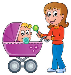 Baby carriage theme image 1 vector
