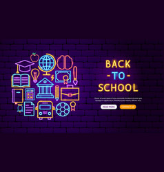 back to school neon banner design vector image