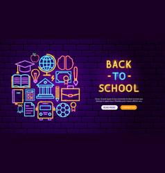 back to school neon banner design vector image