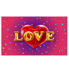 ballons love and red valentine heart vector image