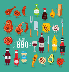 barbecue sauces wine meat set vector image
