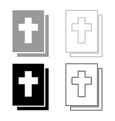 bible icon set grey black color vector image