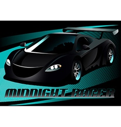 Black midnight racer sports car vector