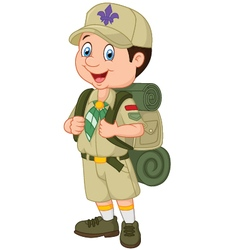 Cartoon little boy scout vector
