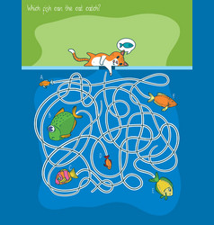 cat and fishes maze game vector image