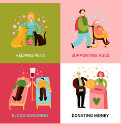 Charity types 2x2 design concept vector