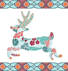 Christmas deer pattern made from flowers leaves vector
