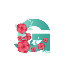 color letter g with beautiful flowers vector image