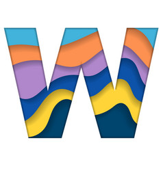 Colorful letter w vector
