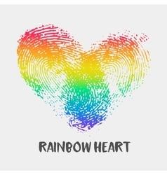 Conceptual logo with fingerprint rainbow heart vector