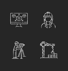 Construction building process chalk white icons vector