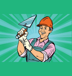 construction worker with trowell vector image vector image