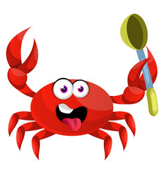 crab with spoon on white background vector image