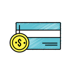 credit card electronic with coin cash money vector image