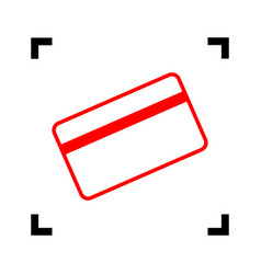 credit card symbol for download red icon vector image