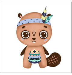 cute boho beaver with big eyes and feathers vector image