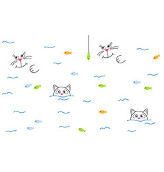 Cute cat swims in river and catches fish vector