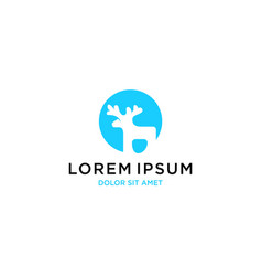 Deer rounded logo template icon vector
