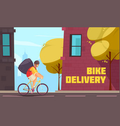 Delivery by bike composition vector