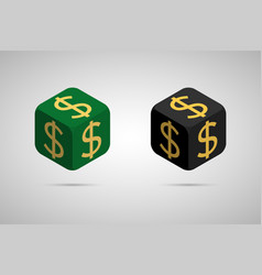 dollar green and black dollar cube vector image