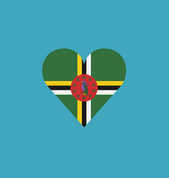 dominica flag icon in a heart shape in flat design vector image