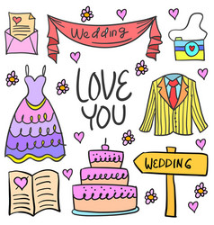 Doodle of wedding element party vector